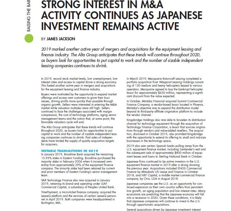 Strong Interest in M&A Activity Continues as Japanese Investment Remains Active