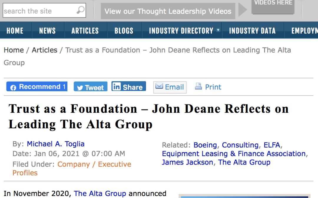 Trust as a Foundation, John Deane Reflects on Leading The Alta Group