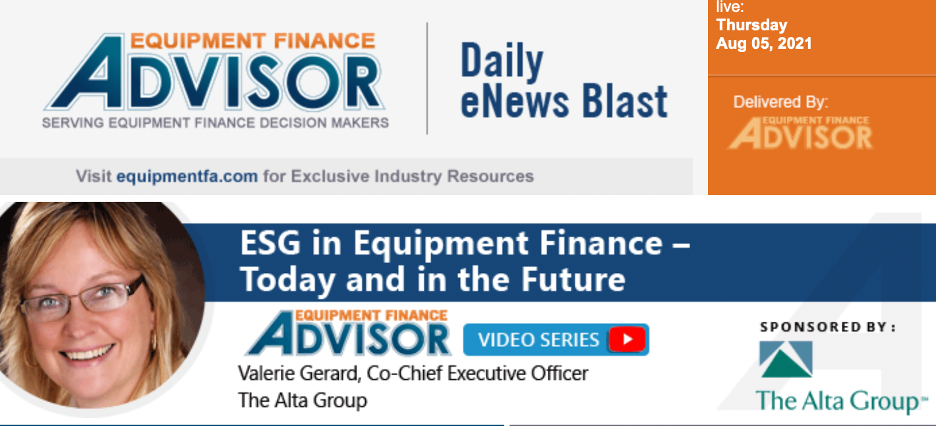 Why ESG Matters to Equipment Finance Industry -See Video Interview
